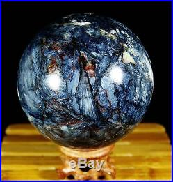 3.3Ib 3.9NATURAL RARE PIETERSITE CRYSTAL SPHERE BALL HEALING WithRose Wood Stand