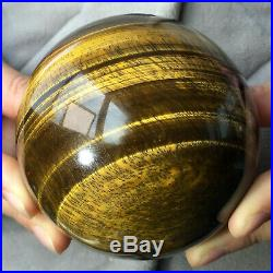 3.3inch Large Natural Gold Tiger's Eye Stone Quartz Crystal Sphere Ball Healing