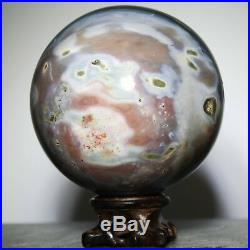 3.8 1338g Polished POLYCHROME JASPER SPHERE BALL withRosewood Stand-Madagascar