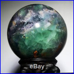 3.81629g Polished Green Fluorite Quartz Crystal Sphere Ball withRosewood Stand