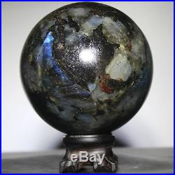 3.9 1483g Natural Labradorite Crystal Sphere Ball withRosewood Stand-Madagascar