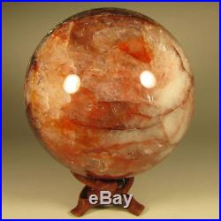 3.9 RED FIRE QUARTZ Hematoid Crystal Sphere Ball with Stand Madagascar 100mm