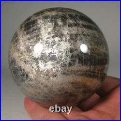 3 BLACK MOONSTONE Crystal Sphere Ball with Stand Madagascar 76mm 1.3 lbs