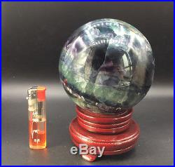 3045g Large nature color fluorite crystal gemstone sphere ball reiki healing + s