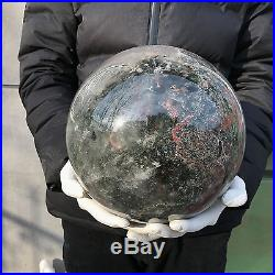 34.89LB natural clear ghost quartz 225mm crystal sphere ball healing PC124