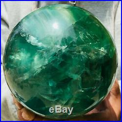 3433g Large Natural Clear Green Fluorite Crystal Sphere Ball Mineral Healing