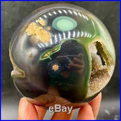 363GNatural Amethyst & Agate Crystal Open The Mouth Smile Sphere BALL TD426