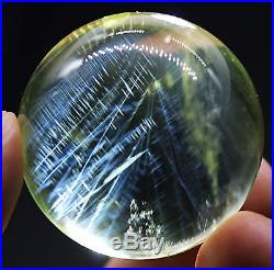 39mm 84.2g Natural Blue Angel Feathers Yellow Quartz Crystal Sphere Ball