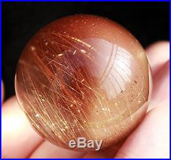 39mm Sparkling! Natural Clear Gold Rutilated Quartz Crystal Sphere Gem Ball