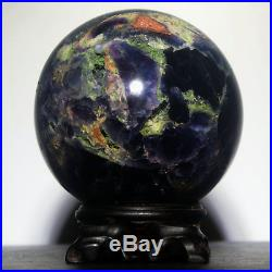 4.0 3.8lb Polished Green Fluorite Quartz Crystal Sphere Ball withRosewood Stand