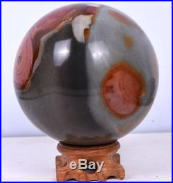 4.37'' Polished POLYCHROME JASPER SPHERE BALL Crystal withRosewood Stand-MDG 1928