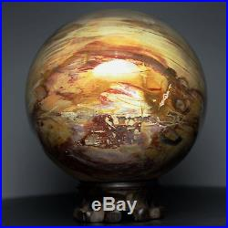 4.5 5.1lb NATURAL PETRIFIED WOOD FOSSIL SPHERE BALL withRoseWood Stand Madagascar