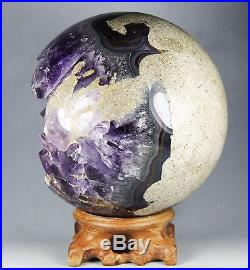 4.52 NATURAL AMETHYST GEODE & AGATE SPHERE BALL REIKI withRosewood Stand BRAZIL