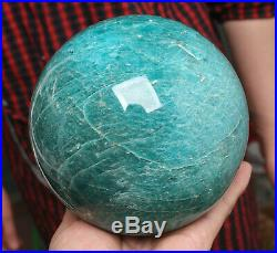 4.97lb 4.33NATURAL AMAZONITE CRYSTAL SPHERE BALL HEALINGwithRosewood Stand