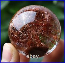 41mm Natural Clear Red Hair Rutilated Crystal Ball SPHERE Quartz Specimen