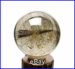41mm Natural Clear silver Rutilated Crystal Ball SPHERE Quartz Specimen