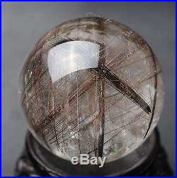 43mm Natural Clear Hair Rutilated Crystal Ball SPHERE Quartz Specimen