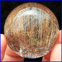 43mm Sparkling! Natural Clear Gold Rutilated Quartz Crystal Sphere Gem Ball