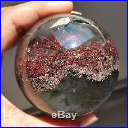 450g 69mm Natural Green&Red Ghost Quartz Crystal Sphere Ball Healing W1164