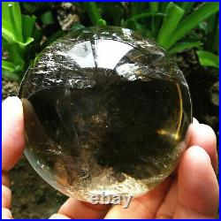 462g 69mm Rare Clear Rainbow Sphere Natural Yellow Quartz Crystal Ball With Mica