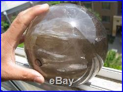 4640g NATURAL have Water SMOKY QUARTZ CRYSTAL SPHERE BALL Healing+ 190g STAND