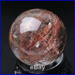 46mm Natural Clear Red Hair Rutilated Crystal Ball SPHERE Quartz Specimen