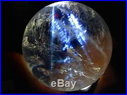 491g NATURAL BLUE Ghost Clear Quartz Crystal Sphere Ball, Angel's Feather W1051
