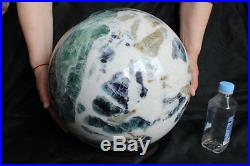 49kg 108LB Huge Natural Green Purple White Fluorite Crystal Sphere Ball Healing