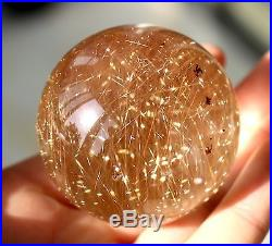 49mm Natural Clear Gold Hair Rutilated Crystal Ball SPHERE Quartz Specimen