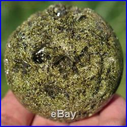 51mm 6OZ Natural Green Tourmaline Epidote Cluster Geode Crystal Sphere Ball