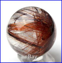 51mm Natural Clear Red Hair Rutilated Crystal Ball SPHERE Quartz Specimen