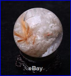 51mm Natural Clear Red Rutilated Crystal Ball SPHERE Quartz Specimen