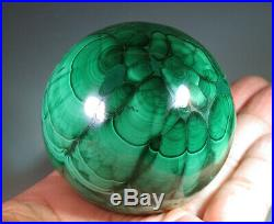 53 mm (2.1) Natural Solid Green MALACHITE CRYSTAL Gemstone Sphere Ball 7305