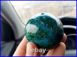 54 mm (2) AAA Large MALACHITE with CHRYSOCOLLA Geode Crystal Sphere Ball PERU
