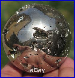 54mm 11.9OZ Natural Solid Pyrite Geode Crystal Sphere Ball