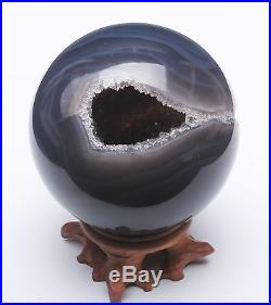 550g NATURAL AMETHYST GEODE & AGATE SPHERE BALL REIKI withRosewood Stand BRAZIL