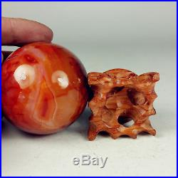 56mm 238g Polished CARNELIAN SPHERE BALL Crystal withwood Stand-Madagascar 7976