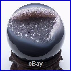 575g NATURAL AMETHYST GEODE & AGATE SPHERE BALL REIKI withRosewood Stand BRAZIL
