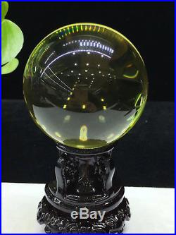 58mm Huge Natural Citrine Clear Quartz Crystal Sphere Ball Healing Wood/stnad