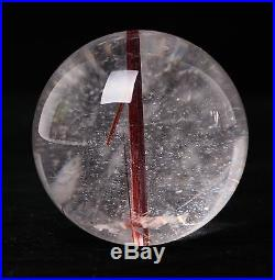 58mm Natural Clear Quartz Red Rutilated Crystal Ball SPHERE Specimen Lucky