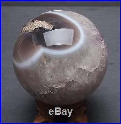 590g NATURAL AMETHYST GEODE & AGATE SPHERE BALL REIKI withRosewood Stand BRAZIL