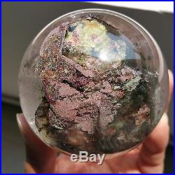 594g 76mm Natural Green&Red Ghost Quartz Crystal Sphere Ball Healing W1052