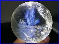 597g 75mm NATURAL BLUE Ghost Clear Quartz Crystal Sphere Ball Angel's Feather