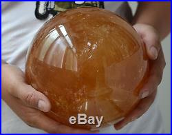 6.2Iceland Spar OPTICAL CALCITE Crystal Rainbow Sphere Ball Rich YELLOW Color