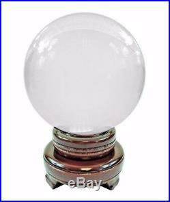 60-200 MM Clear Glass Crystal Ball Sphere Photography Photo Props with Wood Stand