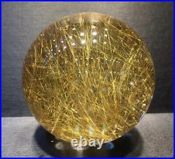60mm BIG! Rare Natural Clear Gold Rutilated Quartz Crystal Sphere Ball Healing
