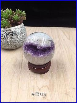 60mm Natural Amethyst Geode & Agate Sphere Ball Reiki with Stand Brazil