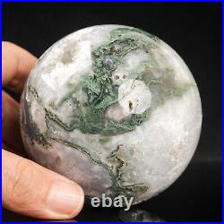 611g77mm Large Natural Green Moss Agate Geode Crystal Sphere Healing Ball Chakra