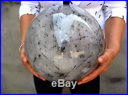 62.77lb RARE HUGE NATURAL BLACK Tourmaline quartz crystal sphere ball healing