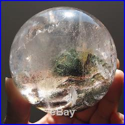 624g Natural Green&Red Ghost Quartz Crystal Sphere Ball Healing W987